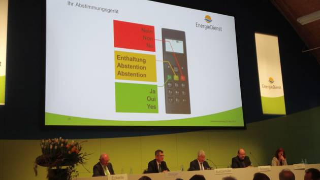 Erstmals konnten die Aktionärinnen und Aktionäre an einer Generalversammlung der Energiedienst Holding AG in Laufenburg ihre Stimme elektronisch abgeben. – Foto: chr