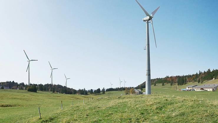 Der umstrittene Windpark Grenchenberg im Kanton Solothurn: Die städtischen Werke Grenchen (SWG) wollen sechs Windränder aufstellen. (Archivbild)
