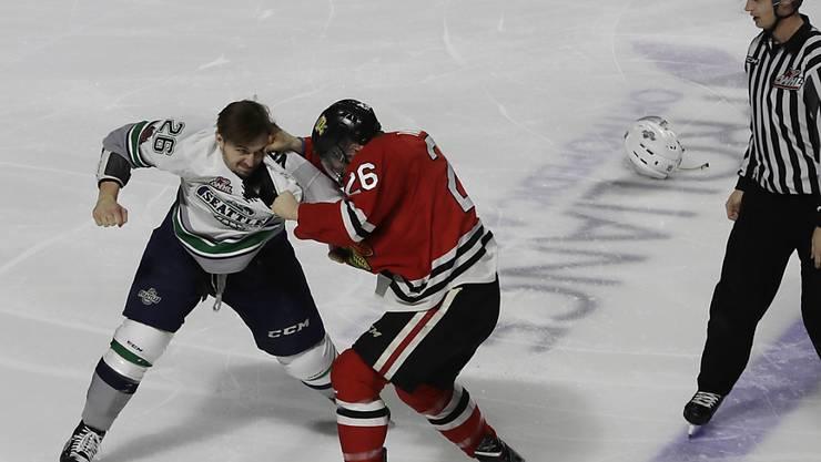 Seattle, im Bild ein Faustkampf mit Beteiligung des lokalen Junioren-Teams Seattle Thunderbirds, sollte es bald NHL-Eishockey geben