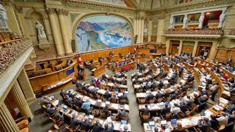 Blick in den Nationalratssaal in Bern.
