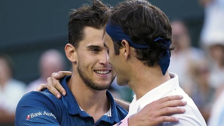 Dominic Thiem (links) verbessert sich in der Weltrangliste auf Platz 4 und ist damit direkt vor Roger Federer klassiert