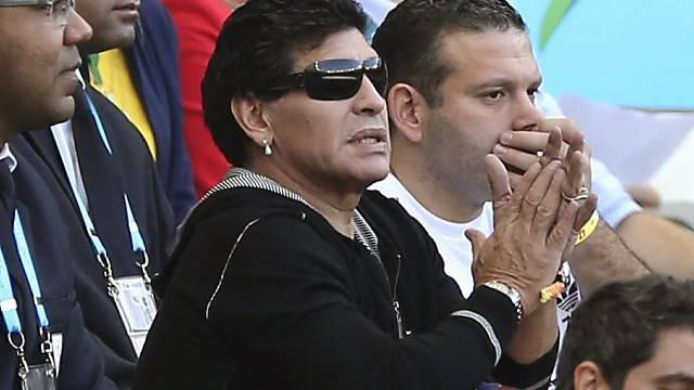 Diego Maradona während einem Spiel Argentiniens