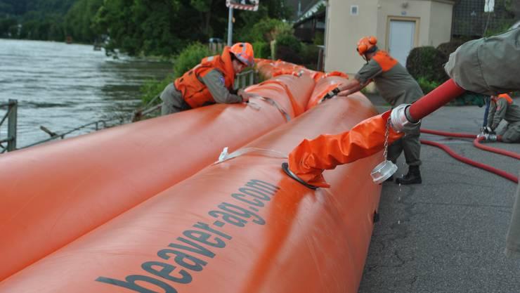 Bei Wallbach am Rhein baute der Zivilschutz aus Brugg im Januar Beaver-Schläuche auf. Sie wurden mit Wasser gefüllt und sollten das Hochwasser aufhalten.
