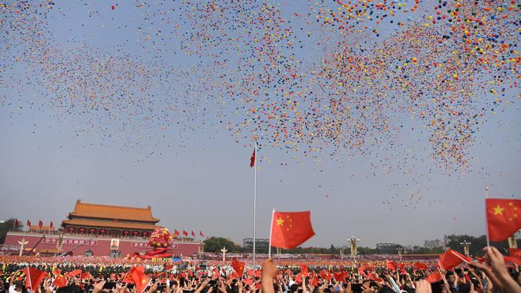 Militärparade auf dem Platz des Himmlischen Friedens in Peking. 70 Jahre Volksrepublik.