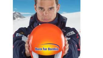 Born for Bormio: Dieser Spruch wird den Ovomaltine-Helm von Patrick Küng am Samstag zieren.
