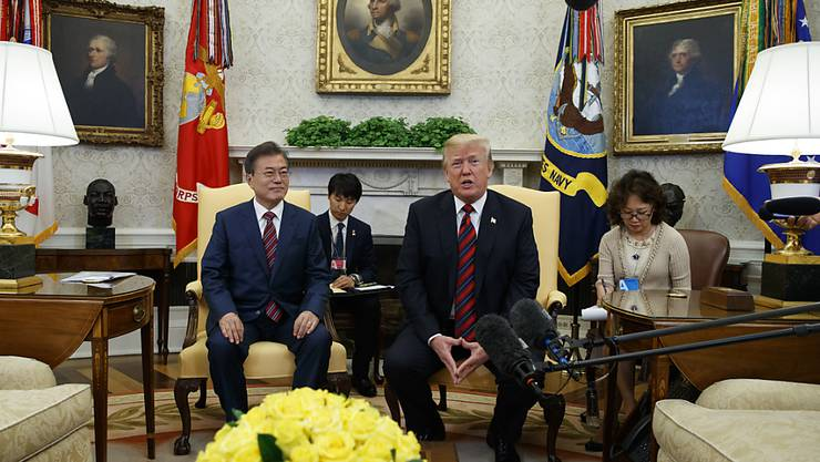 US-Präsident Trump hat seinen südkoreanischen Amtskollegen Moon Jae-In im Oval Office empfangen.
