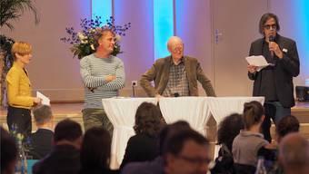 Eröffnungsanlass des Schriftstellerwegs Ende April im Stadttheater: Alex Capus, Franz Hohler und Pedro Lenz (von links).