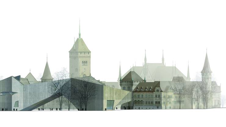 Das alte Landesmuseum, vom Neubau teilweise verdeckt. CHRIST & GANTENBEIN/zvg