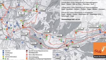 Karte der Slow-Up-Route