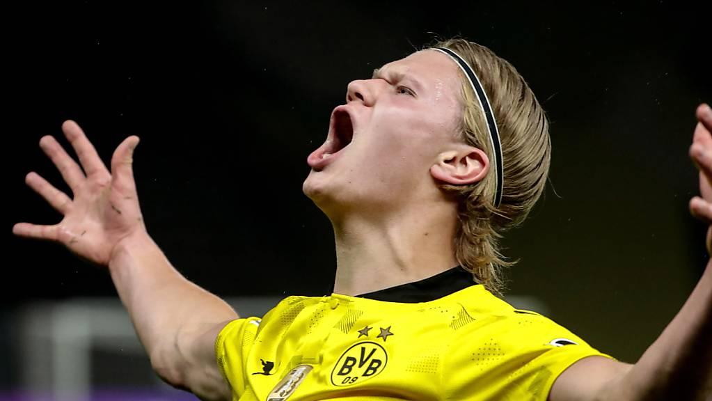 Einer der Dortmunder Matchwinner: Erling Haaland schreit seine Freude heraus