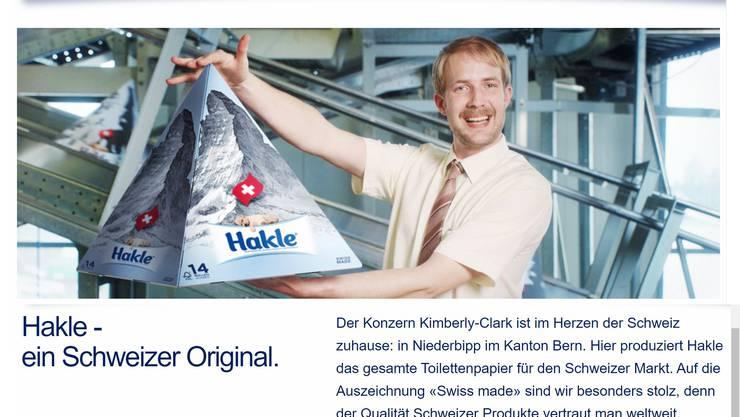 Hakle hatte auf der Homepage einen Beitrag zum Schweizer Original. Dieser wurde gelöscht.