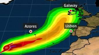 Laut den aktuellen Berechnungen werden Ausläufer des Hurrikans am Montag auf Irland treffen.