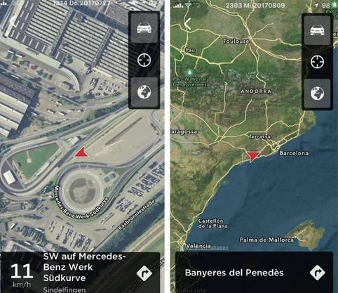 Screenshots von van Rinsums Smartphones zeigen den Tesla auf der Rüttelstrecke, der Traktionsstrecke, der Schlechtwegstrecke und am Steigungshügel.