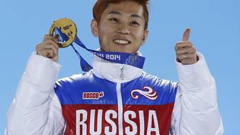 Für Pyeongchang kein Thema mehr: Star-Shorttracker Viktor Ahn in der Pose des Olympiasiegers