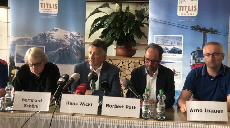 Medienkonferenz der Kantonspolizei Obwalden und der Titlisbahnen aus dem Hotel Terrace in Engelberg.