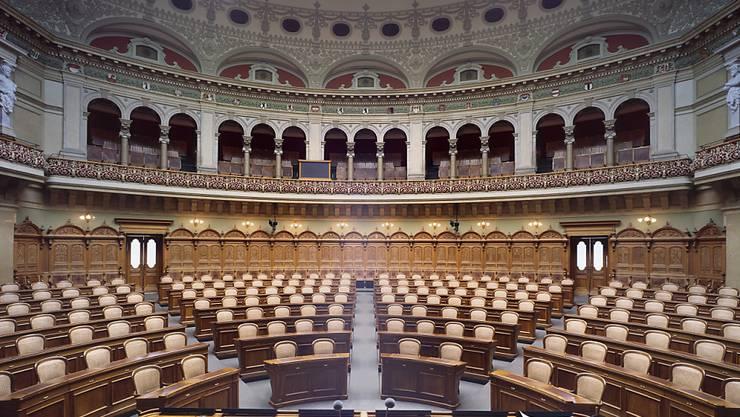 Der Nationalratssaal ist bereit für die Frühjahrssession.