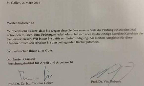 Dieser Brief lag auf dem Prüfungscouvert.