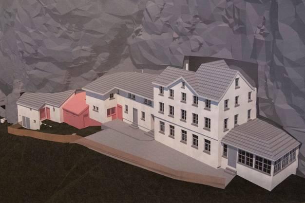 In roter Farbe: Geplante Umbauarbeiten am Berggasthaus. (Foto: Urs Bucher)