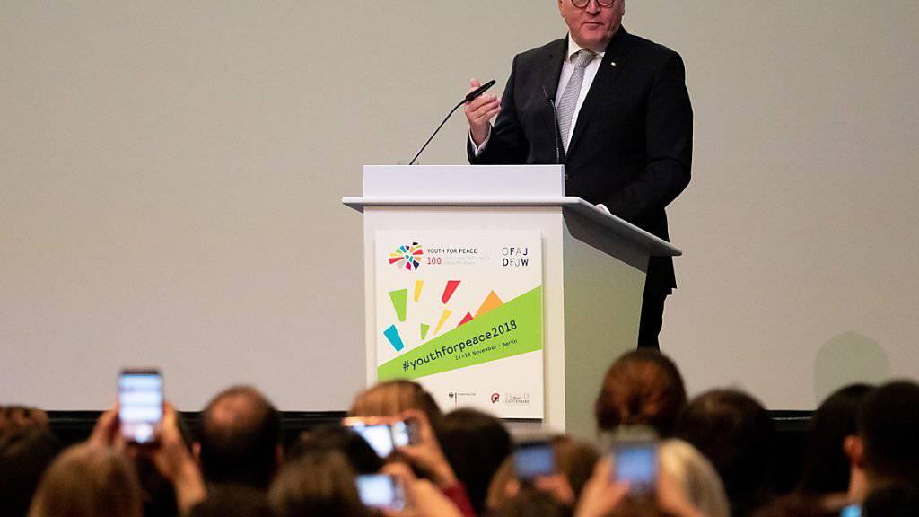 Deutschlands Bundespräsident Frank-Walter Steinmeier an der « 'Youth for Peace»-Veranstaltung in Berlin.
