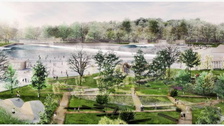 Der insgesamt 1500 Quadratmeter grosse separate See beinhaltet einen Schwimmbereich à 750 Quadratmeter.Visualisierung: Waveup.ch