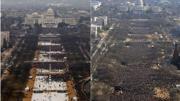 Links: Trumps Amtsantritt am Freitag, dem 20. Januar. – Rechts: Obamas erster Amtsantritt 2009.