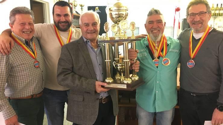 von links nach rechts: Donato Cima ( 3. Platz), Franco Petriella (2. Platz), Vito Petriella (Präsident), Mauro Tudisco (1. Platz), Silvio Comelli (3. Platz)