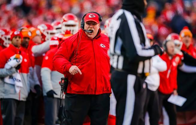 Andy Reid, der Trainer der Chiefs, wartet auf die Krönung. Bild: Getty