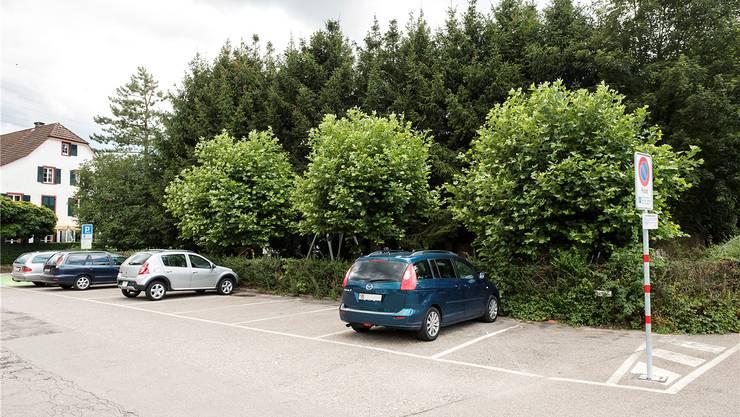 Die geplante Remise soll anstelle der Bäume und des Spielplatzes zu stehen kommen; links das Restaurant Talhaus. K. Nars