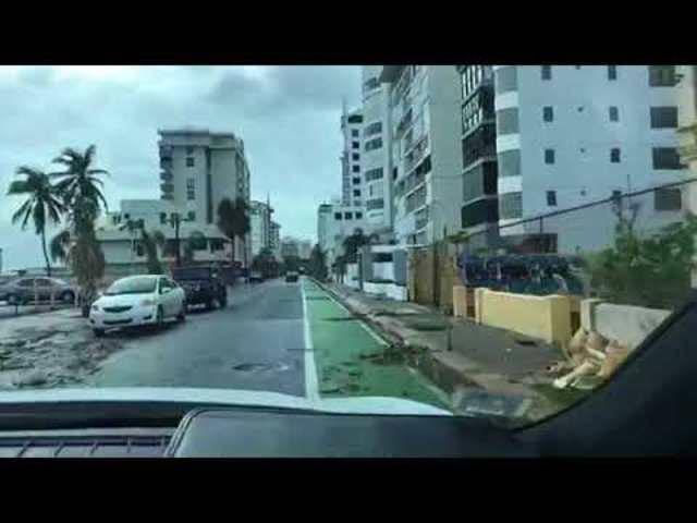 Die Strassen von San Juan, Puerto Rico, nach dem Sturm.