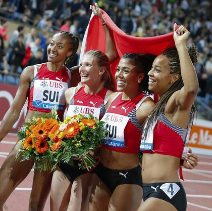 Die Schweizer 4 x 100-Meter-Staffel