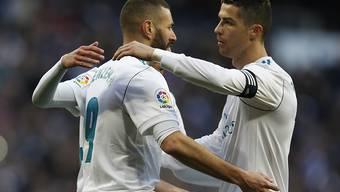 Karim Benzema (links) und Ronaldo trafen erneut für Real Madrid