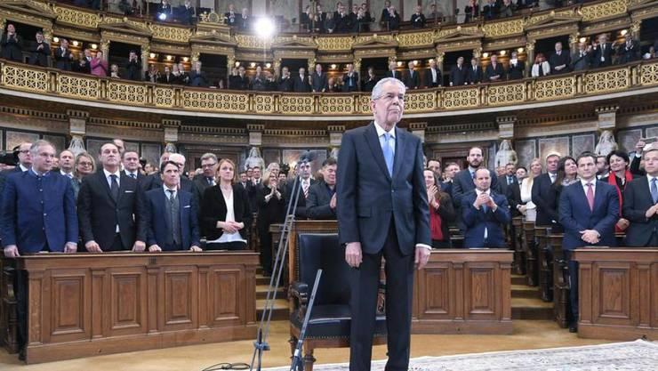 Bundespräsident Alexander Van der Bellen am Donnerstag bei seiner Angelobung durch die Bundesversammlung im historischen Sitzungssaal im Parlament in Wien.
