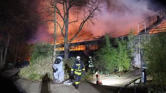 Feuerwehrmänner vor dem verheerenden Feuer im Zoo von Krefeld.