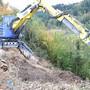 Mit dem umgangssprachlich «Menzi Muck» genannten Schreitbagger werden am Rümlisberg in Vordemwald zuerst teils mannsgrosse Baumstrünke aus dem steilen Hang gerissen.