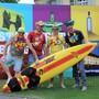 Sie sind bereits in Partylaune (v. l.): Jimmy Schmid, Severin Obrecht, Ricco Siegenthaler und Christian Bösch. Bild: Claudia Meier