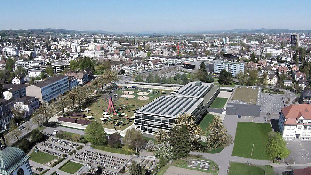 Visualisierung des geplanten neuen Stadthauses in Kreuzlingen. Nach der Annahme der Initiative für die Freihaltung der Festwiese - dem geplanten Standort - müssen die Behörden jetzt eine neue Stadthaus-Vorlage ausarbeiten.