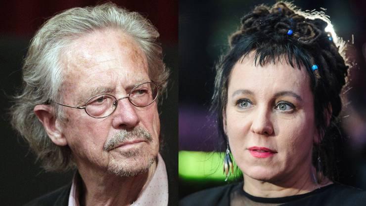 Peter Handke, Preisträger für 2019, und Olga Torkarczuk, Preisträgerin für 2018. (Bilder: Keystone/ Imago Images)