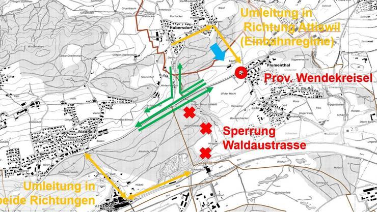 Die Illustration zeigt den Verkehrsablauf während der Bauzeit. Der Wendekreisel befindet sich in Flumenthal. Links ist Riedholz.