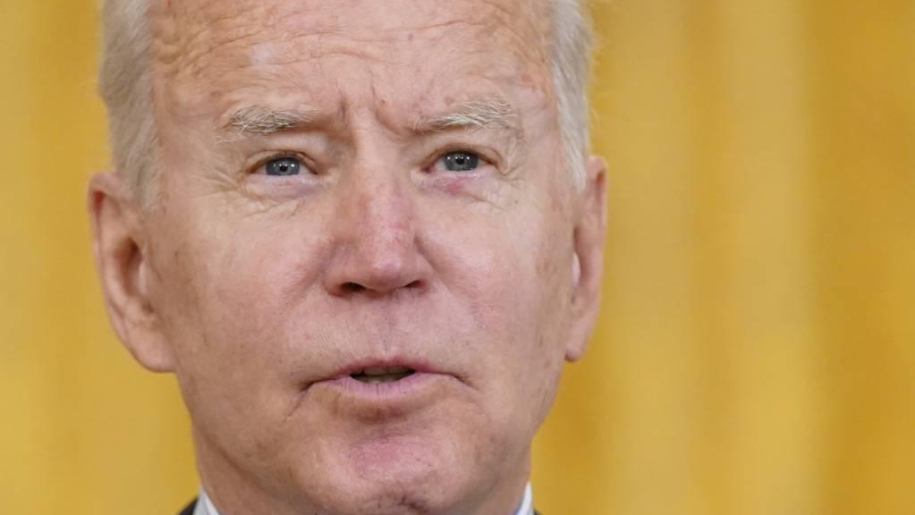 Joe Biden, Präsident der USA, spricht bei einer Pressekonferenz im East Room des Weißen Hauses. Foto: Patrick Semansky/AP/dpa