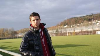 U17-Nationalspieler Oliver Buff auf dem Sportplatz Werd.
