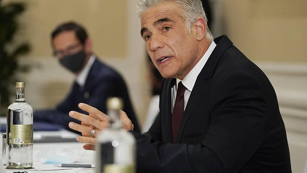 ARCHIV - Jair Lapid, Außenminister von Israel, nimmt an einem Treffen mit US-Außenminister Blinken teil. Foto: Andrew Harnik/AP Pool/dpa Foto: Andrew Harnik/AP Pool/dpa