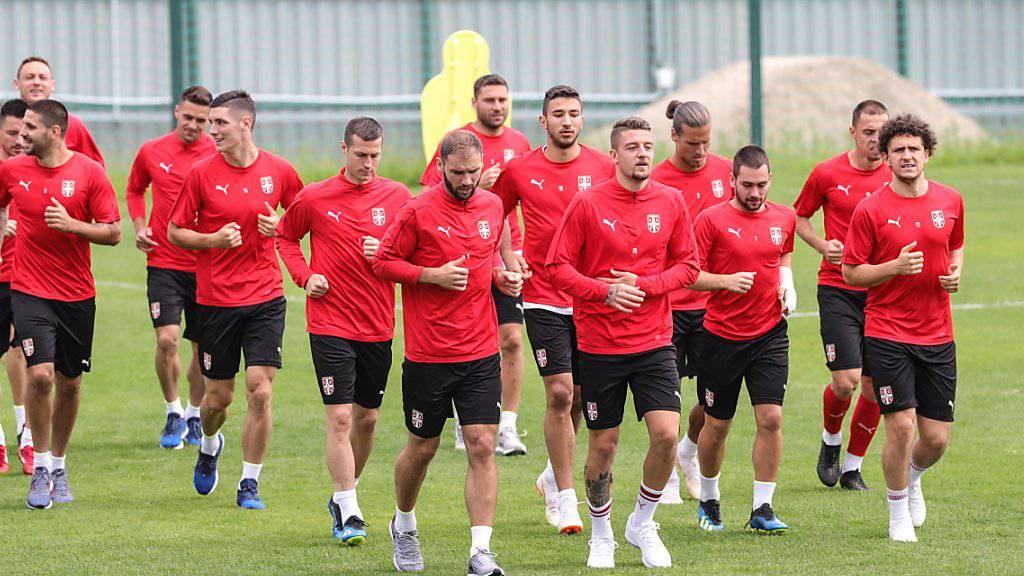 Die serbischen Spieler streben gegen die Schweiz den zweiten Sieg bei der WM an