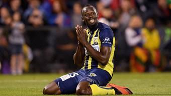 Usain Bolt während eines Testspiels mit den Central Coast Mariners