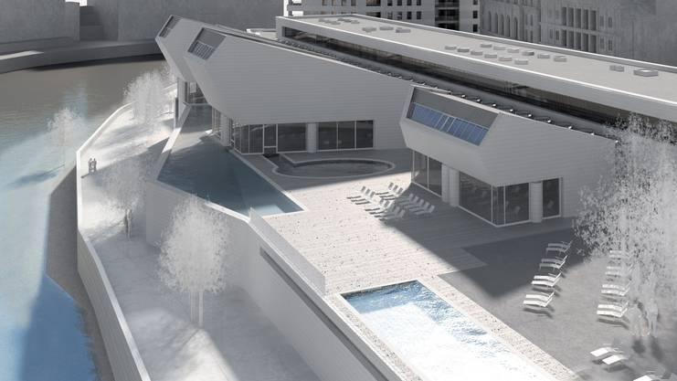 So wird das Thermalbad in Baden aussehen. 2021 soll es eröffnet werden. (Visualisierung)