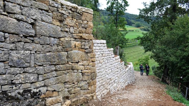Die Sanierung der 400-jährigen Bruchsteinmauern beim Schloss Kasteln in Oberflachs ist demnächst abgeschlossen. Die Mauer mit Rogenstein (l.) und dem weissen Teil mit dem Malmkalkstein steht am neuen Weg.