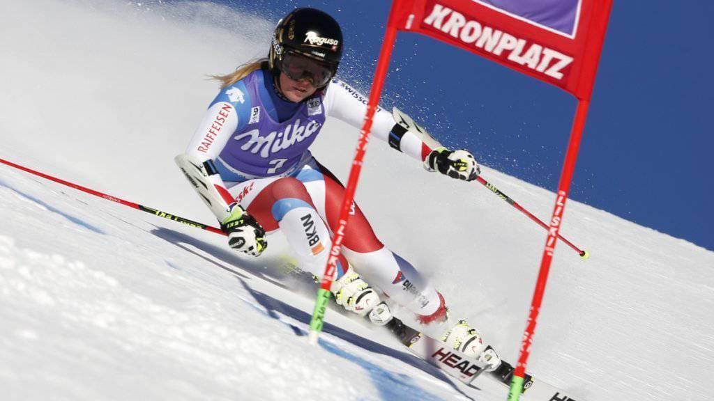 Lara Gut auf ihrer Fahrt im ersten Lauf des Weltcup-Riesenslaloms im italienischen Kronplatz