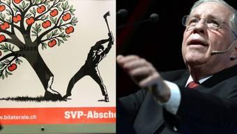 Biedert sich jetzt auch Basel an? Fällt die Hochburg der Liberalität und Weltoffenheit? (Foto: Pro-Plakat und alt Bundesrat Christoph Blocher)