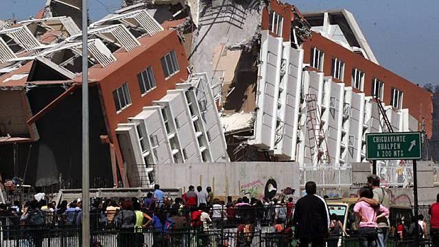 Ein zerstörtes Gebäude in Concepción