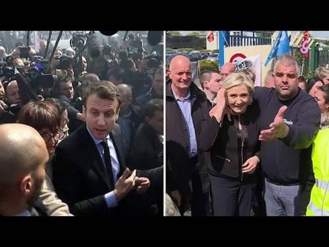 Das Theater von Amiens: Emmanuel Macron und Konkurrentin Marine Le Pen zu Besuch in der Whirlpool-Fabrik