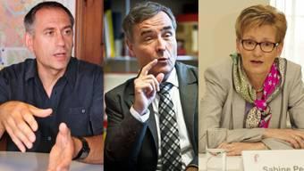 Weibeln für höhre Vignetten-Gebühr: Guy Morin, Hans-Peter Wessels und Sabine Pegoraro.